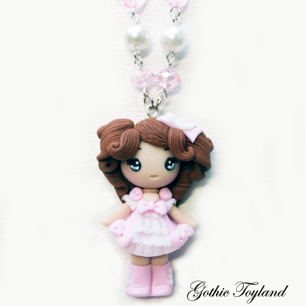 Necklace Sweet Lolita polymer clay pink.
