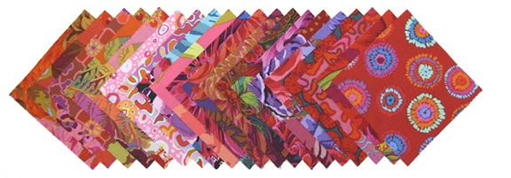 "Kaffe Fassett ""charm pack""   40- 5"" squares (2 each of 20 different prints) http://www.stitchinpost.com/fabricpacks.html#"