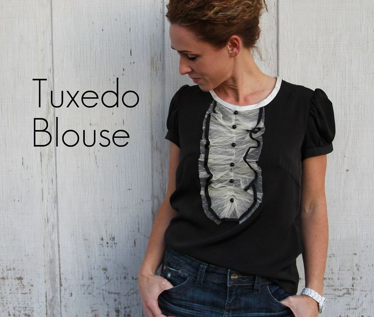 "How to turn a ""boring"" blouse into a tuxedo blouse."