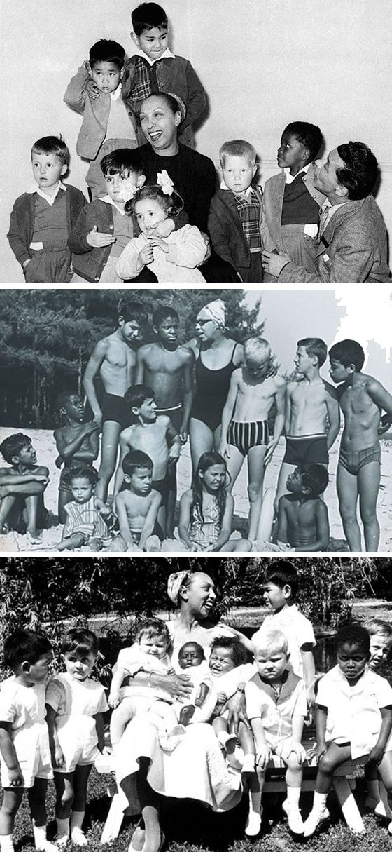 """One of the world's great Moms was Josephine Baker. She adopted 12 children, which she called her Rainbow Tribe. She wanted to prove that """"children of different ethnicities and religions could still be brothers."""""""
