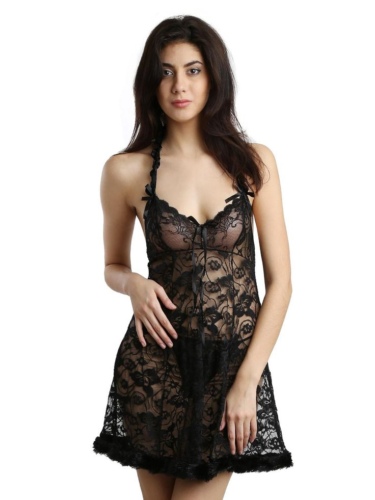 Brand New Black Fur Attached Lace Babydoll..