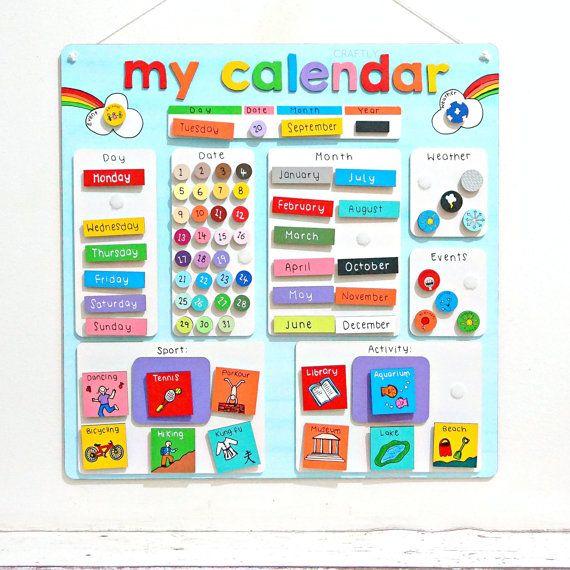 Childrens calendrier activité Agenda - récompense Chart - enfants comportement graphique - corvée graphique - Kids - personnalisé calendrier - autisme