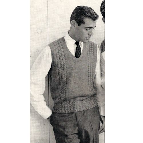 Knitting Pattern Mens Sleeveless Vest : Mens Sweater Vest Knitting Pattern. This is a pullover vest that features a s...