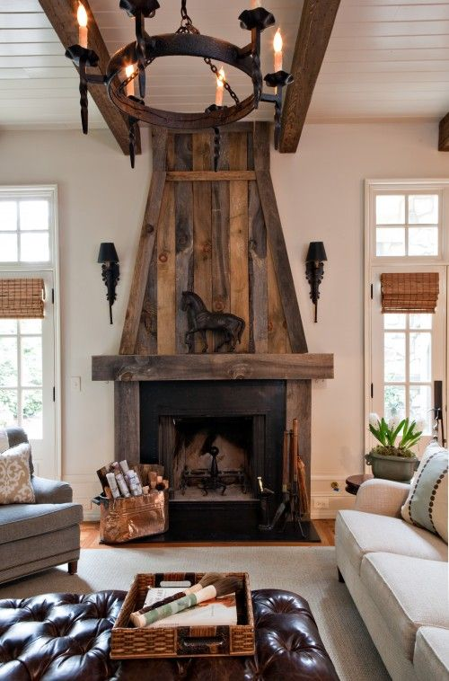DIY fireplace surround: Old Barns Wood, Wood Fireplaces, Idea, Fireplaces Design, Living Rooms, Barnwood, Rustic Fireplaces, Fireplaces Surroundings, Traditional Families Rooms