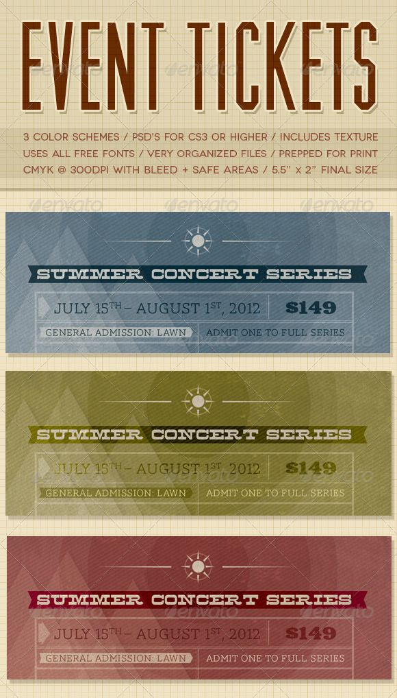 PSD Event Tickets  #editable #unique #clean • Click here to download ! http://graphicriver.net/item/event-tickets/2358247?ref=pxcr