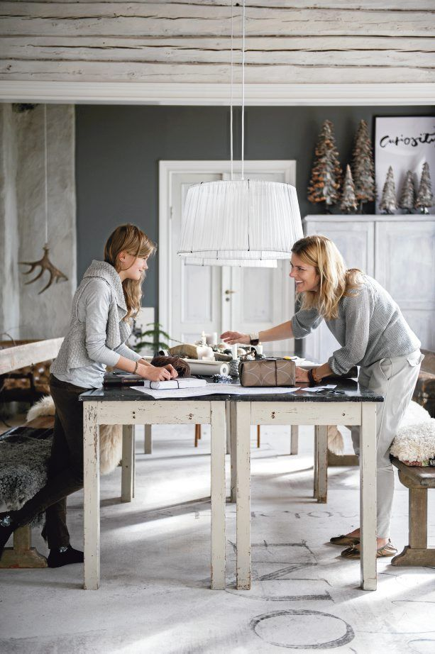 2 narrow tables are perfect for the Loft space... :: Swedish designer and calligraphy artist Ylva Skarp shows LANTLIV magazine around her home.