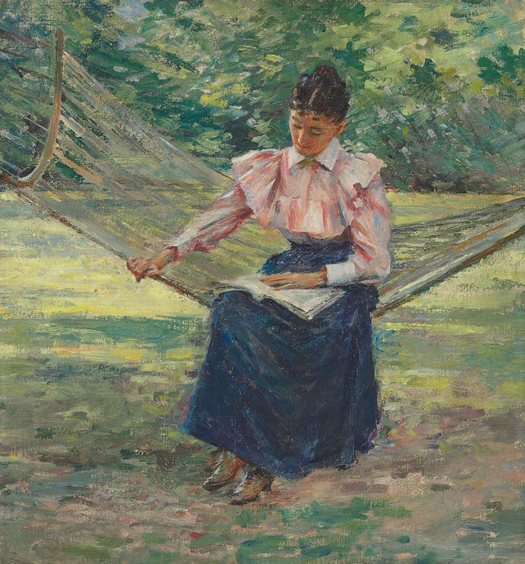 Girl in Hammock (1894). Theodore Robinson (American, 1852-1896). Oil on canvas laid down on board. Robinson sets the solidly rendered figure within a broadly brushed landscape of vivid greens and yellows. He adeptly captures the play of light and shadow on the sun-dappled landscape and, to attain compositional unity, utilizes highlights of pinks and blues in the grass and trees that are similar to those of Miss Buttles' clothes. The hammock adds complexity.