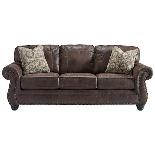 Leather Sofas Ashley Breville Faux Leather Queen Size Sleeper Sofa in Espresso