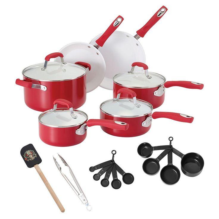 Guy Fieri 21-pc. Ceramic Nonstick Cookware Set, Red