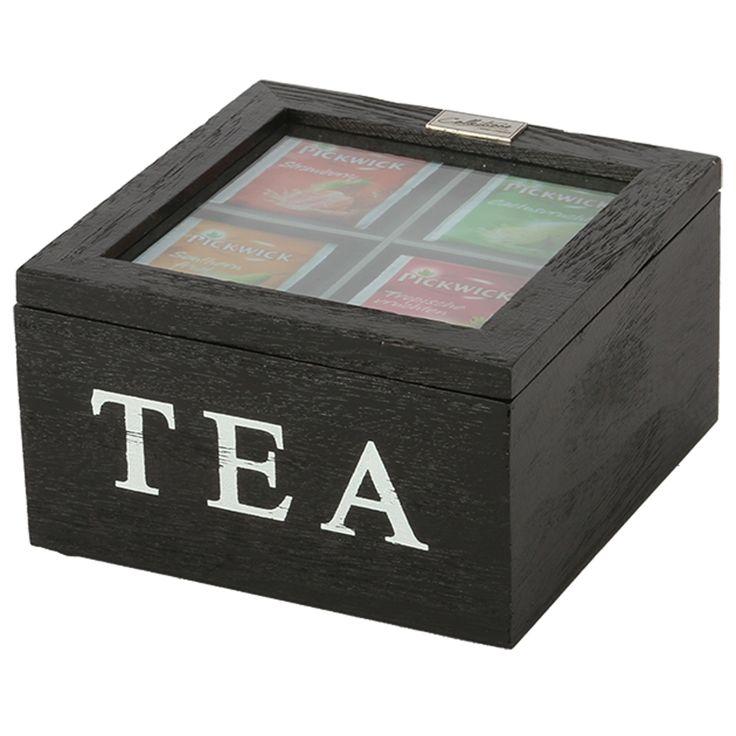 Thee doos Altavilla 4 vaks zwart. Collectione / Casa-Bella #Accessoires #Opbergen #Doosje #Box #Theedoos #Tea