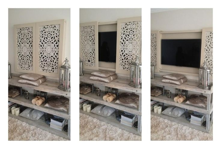Televisie bord Leuk idee. Zou zelf kiezen voor oude luiken. ♡ ~Rustic Living by GJ ~   Kijk ook eens op mijn blog http://rusticlivingbygj.blogspot.nl/
