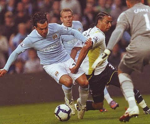 Man City 0 Tottenham 1 in May 2010 at Eastlands. Carlos Tevez on the ball but City lose out to Spurs on a Champions League placing #Prem