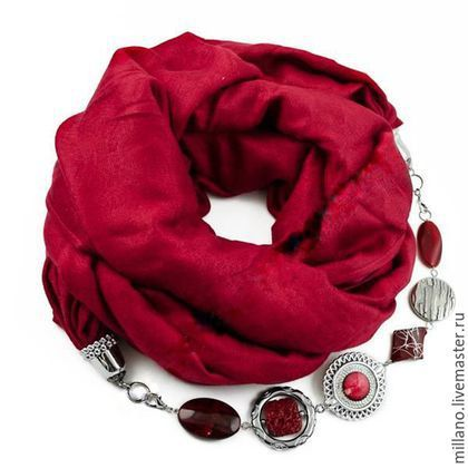Шарфы и шарфики ручной работы. Ярмарка Мастеров - ручная работа. Купить Шарф ожерелье с бижутерией красный. Handmade.…
