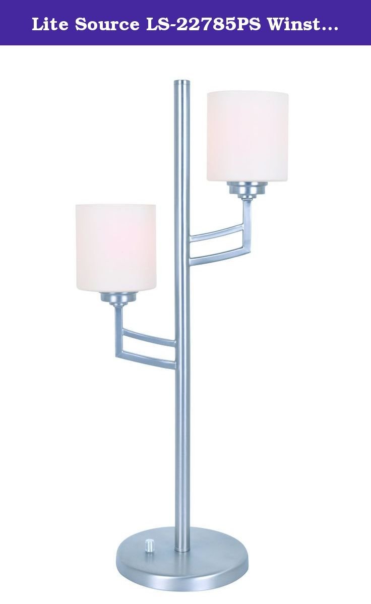 Lite Source LS-22785PS Winston 2-Light Table Lamp, Polished Steel. The Winston 2-light table lamp features a polished steel metal body with candle-like frosted glass shades. It is an excellent addition to any contemporary themed setting. Includes two compact fluorescent 13-watt bulbs. Item Dimensions: 8.5-Inch long, 13-Inch wide, 30-Inch high. Shade is a socket ring shade. Shade Dimensions: Top is 5-Inch long, 5-Inch wide and 5-Inch high; Base is 5-Inch in diameter. Lamp features an E27...