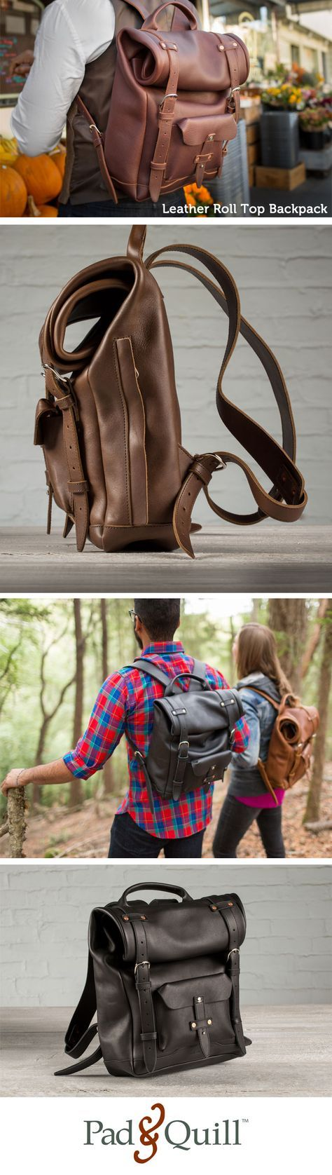 http://www.padandquill.com Leather Roll Top Laptop Backpack. Supple soft and extremely rugged tumbled full-grain saddle leather meets exquisite design to form a backpack that will outlast you!