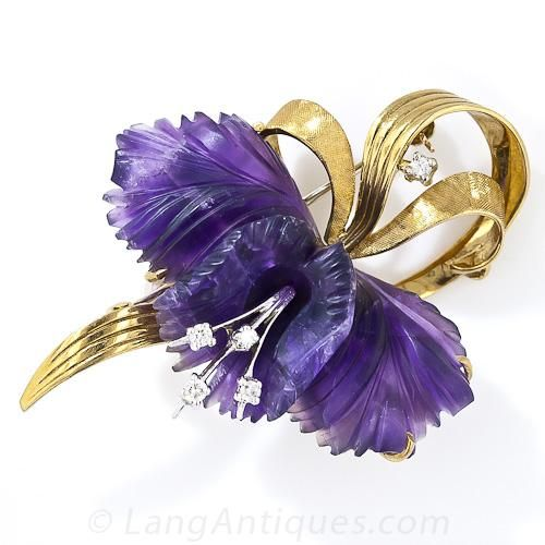 Mid-Century Carved Amethyst and Diamond Orchid Brooch - Lang Antiques