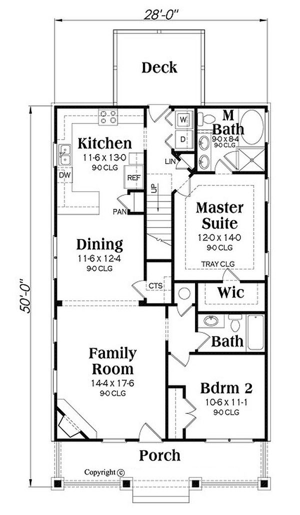 Bungalow Style House Plan 4 Beds 3 00 Baths 1813 Sq Ft Plan 419 301 Floor Plan Main Floor Plan Narrow Lot House Plans House Plans How To Plan