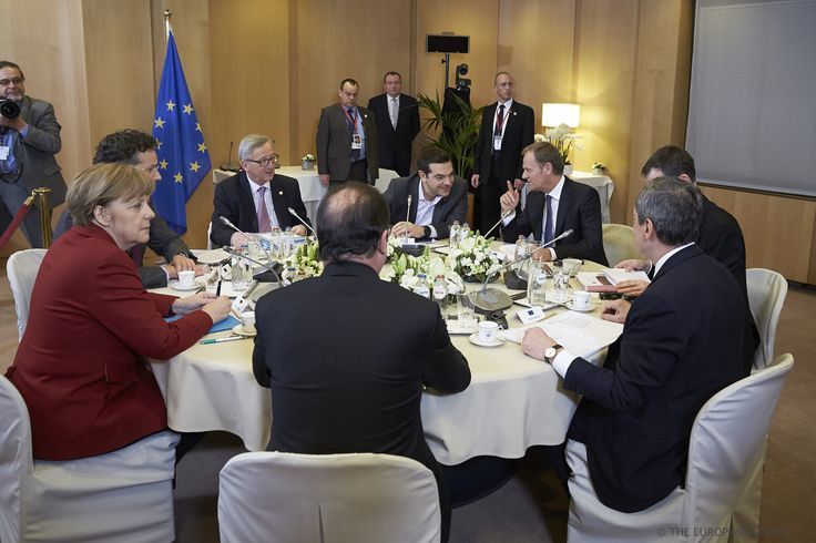 https://flic.kr/p/qKRaYd | Informal meeting on Greece in the margin of the European Council | From left to right: Mr Alexis TSIPRAS, Greek Prime Minister; Mr Donald TUSK, President of the European Council; Mr Uwe CORSEPIUS, Secretary-General of the Council; Mr Mario DRAGHI, President of the European Central Bank; Mr Francois HOLLANDE, President of France; Ms. Angela MERKEL, German Federal Chancellor; Mr Jeroen DIJSSELBLOEM, President of the Eurogroup; Mr Jean-Claude JUNCKER, President of…