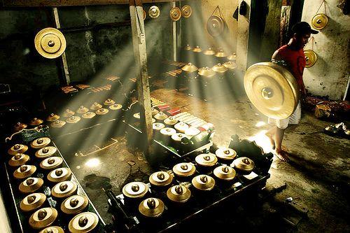 In the making of Javanese Gamelan, Indonesia.
