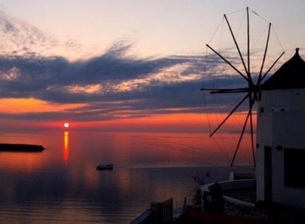 Amazing sunset Santorini Greece