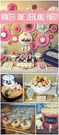 A sweet, rustic winter wonderland party for a little girl's first birthday! See more party planning ideas at CatchMyParty.com!