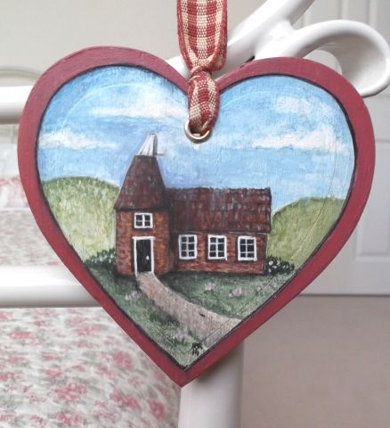 'The Oast' Folk Art Style, Wooden Heart Decoration - £9.50 at…