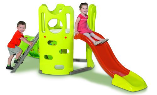 Climb, slide, crawl and play your way around this outdoor fun Adventure Tower.  It has a  platform, a ladder, a large slide, a fabric tunnel and a climbing wall.  Anti-UV treated plastic, strong and sturdy.  Made in France by Simba Smoby.