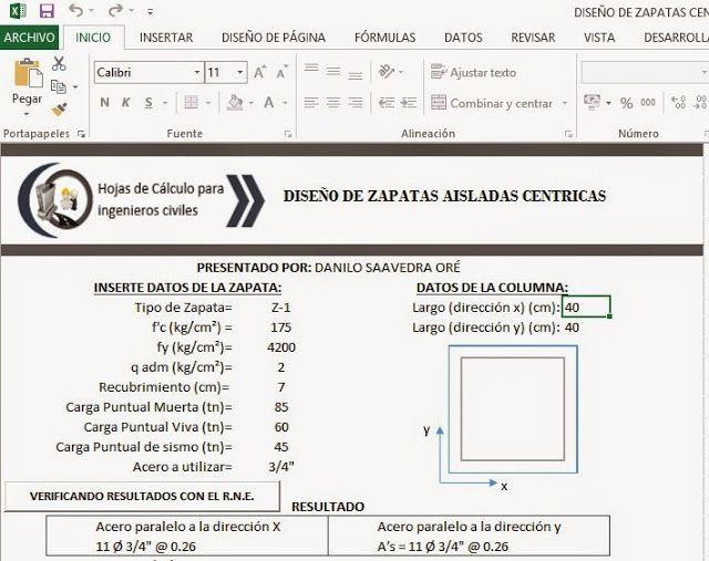 HOJAS DE CÁLCULOS Y PROGRAMAS PARA INGENIERÍA CIVIL : ( xls ] HOJA DE CALCULO EXCEL PARA DISEÑO DE REFUERZO DE ACERO EN ZAPATAS CÉNTRICAS EN CONCRETO ARMADO (HORMIGÓN ARMADO)