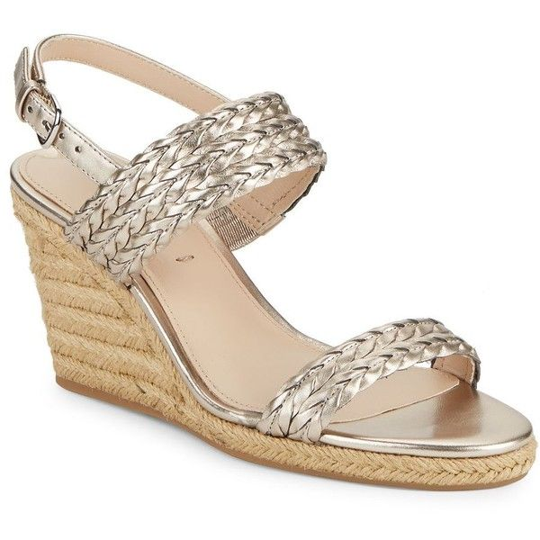 Via Spiga Women's Indira Metallic Espadrille Wedge Sandals ($137) ❤ liked on Polyvore featuring shoes, sandals, rose gold, rose gold wedge sandals, open toe wedge sandals, wedges shoes, open toe espadrilles and espadrille wedge sandals