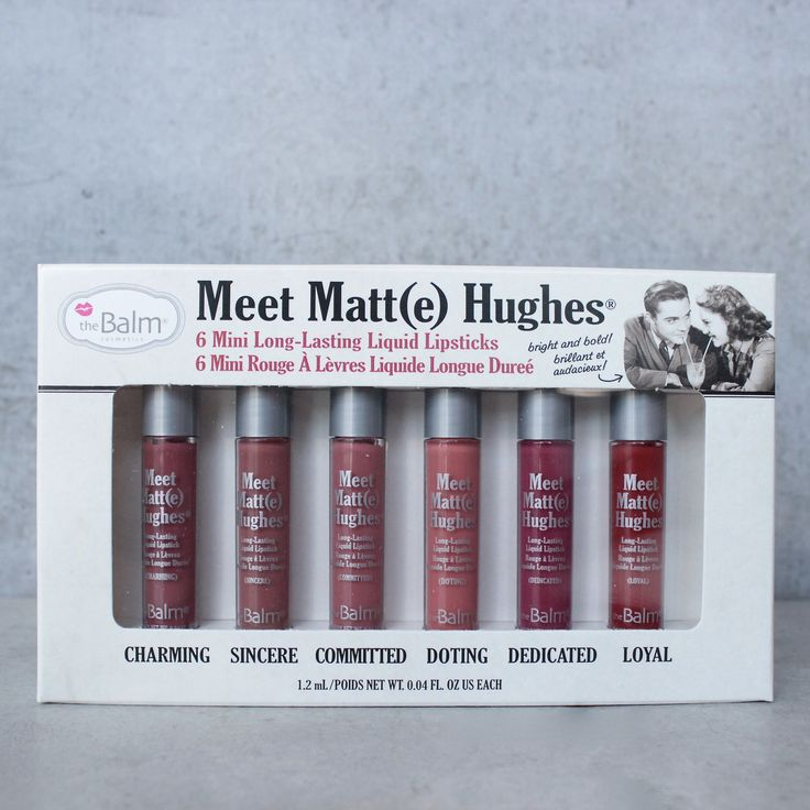 The Meet Matt(e) Hughes Mini Kit is a set of six highly-pigmented shades that deliver a lightweight, matte finish and full payoff. Paraben-free. Cruelty-free. Made in the USA. Net Weight : .25 FL oz (