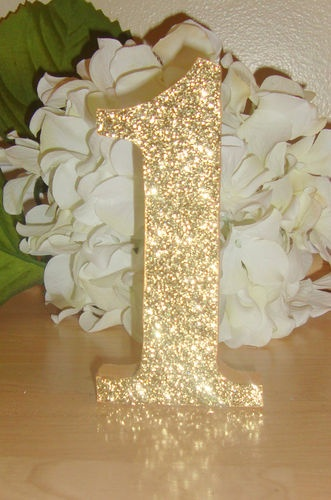self standing glitter table numbers wedding reception