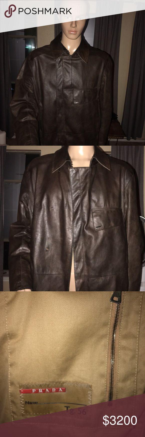 Men's jacket Men's designer leather jacket in excellent condition . Prada Jackets & Coats
