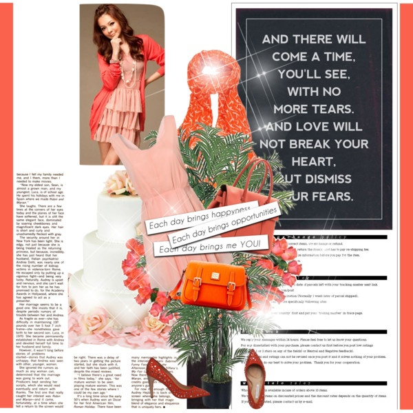 """""""peach and orange"""" by homeyyomey on Polyvore"""