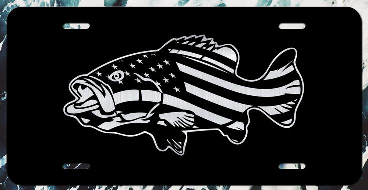 American Flag Bass Fishing Vanity License Plate   Etched Aluminum   6-Inches By 12-Inches   Car Truck RV Trailer Wall Shop Man Cave