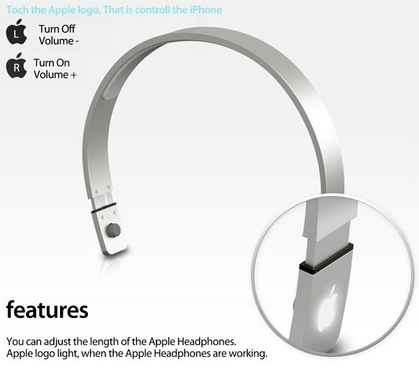 Keeping with the tradition of simplistic minimal design, Sang-hoon Lee has designed his vision for the Apple Headphones. Looks more like a hairband with a sleek