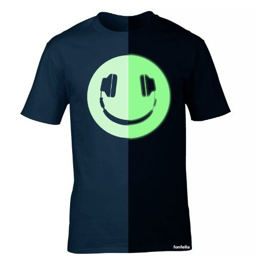 GLOW IN THE DARK HEADPHONE SMILEY (L - OXFORD NAVY) NEW PREMIUM LOOSEFIT T SHIRT - slogan funny clothing joke novelty vintage retro top tshirt tees tee t-shirts shirts fashion urban cool geek luminous fun head phones DJ clubbing rave house dnb drum and bass hardcore happy nightclub decks vinyl record music mc symbol electric night illusion t for him her brother sister mum dad birthday ideas gifts christmas present gift S M L XL 2XL 3XL 4XL 5XL- by Fonfella glow in the dark fonfella ...