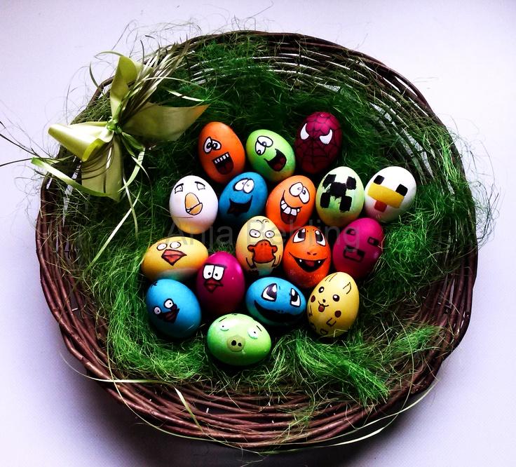 Ja, auch wir waren dieses Jahr zu Ostern kreativ und haben unsere Eier mal etwas unkonventionell bepinselt... ;-)    Angry-Birds, Pokemon, Minecraft, Spiderman, Happy-Faces, Easter-Eggs
