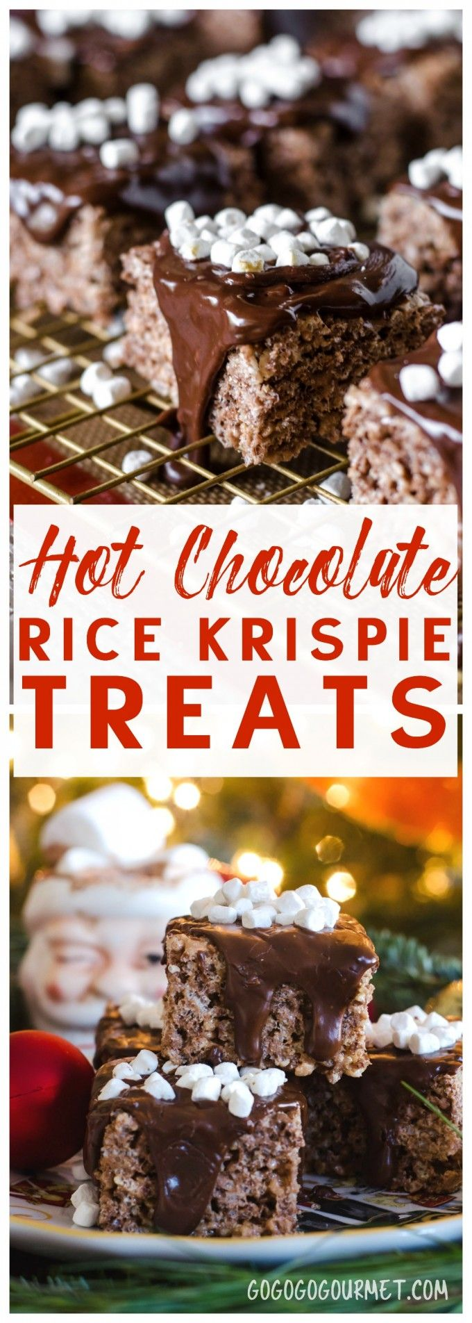 Hot Chocolate Rice Krispies® Treats- a fast and easy holiday no-bake treat!!  via @gogogogourmet #ad HolidayTreatMaking