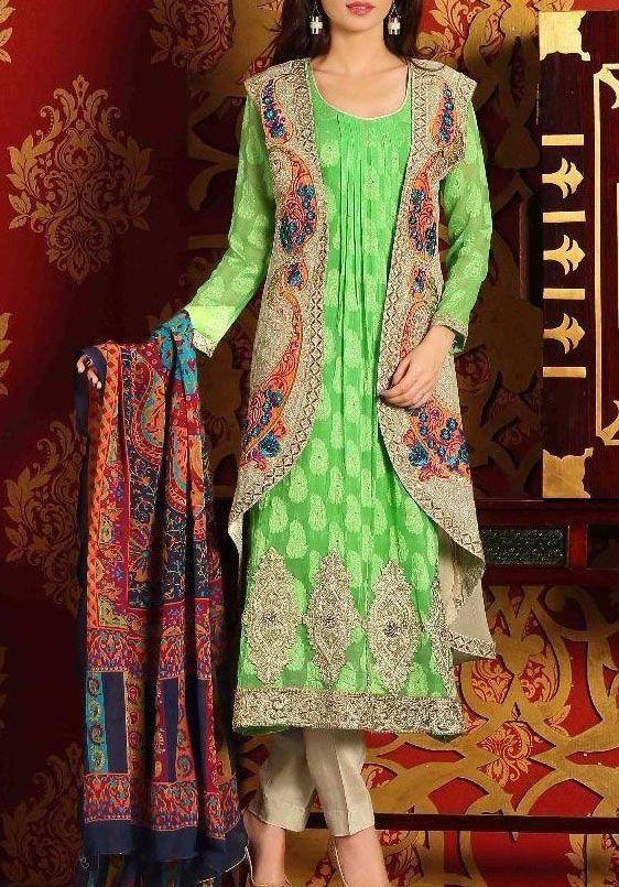 Buy Green Embroidered Chiffon Dress by Plush 2015.