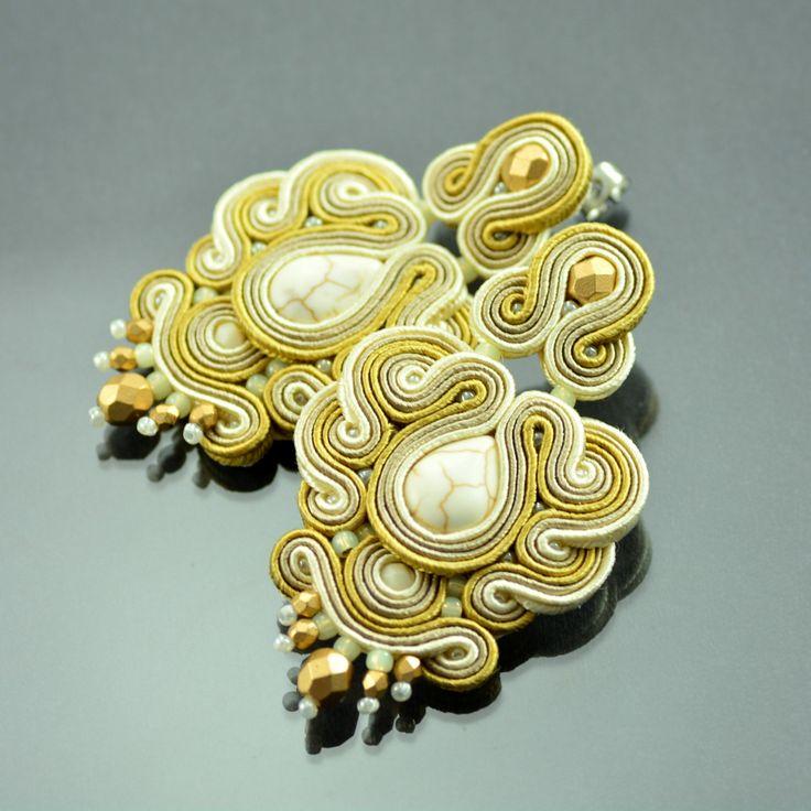 Long Creamy Soutache Earrings Ottoman Empire - Gold Beige Soutache Earrings - Creamy Earrings - Statement Earrings - Gold Orecchini Soutache by OzdobyZiemi on Etsy
