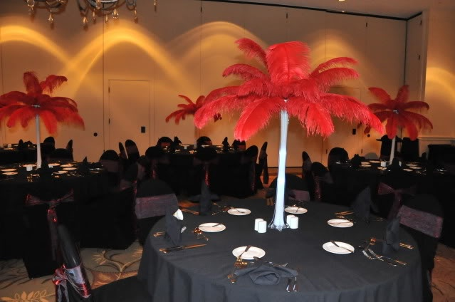 red feather centerpieces decorations centerpieces red rh pinterest com Vegas Red Feather Centerpiece Red Feather Glass Block