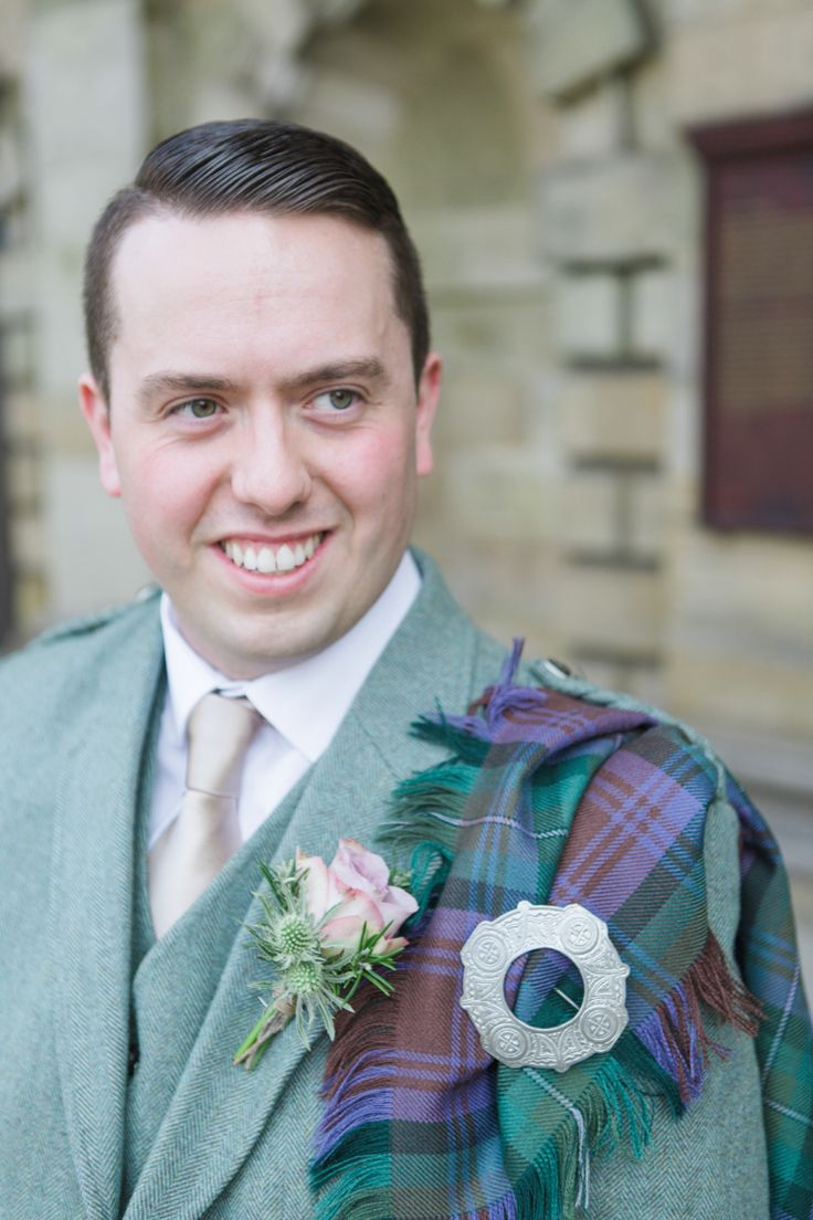 Groom Kilt Tartan Soft Romantic Spring Glasgow Wedding http://www.photographychantal.co.uk/