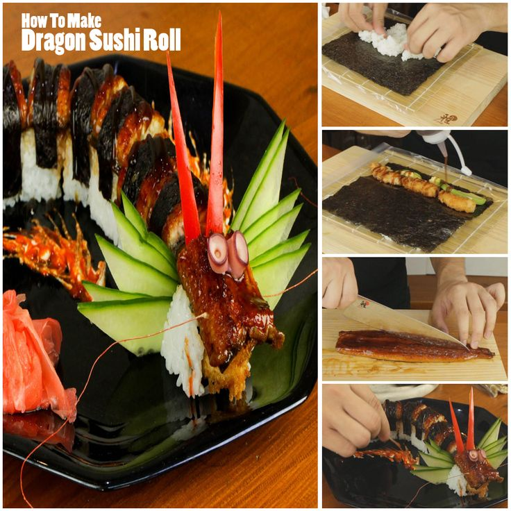 DRAGON! sushi roll :) tutorial here: