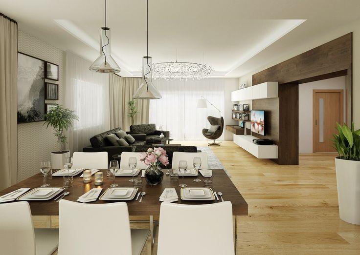 Vizualizace jídelní a obývací části