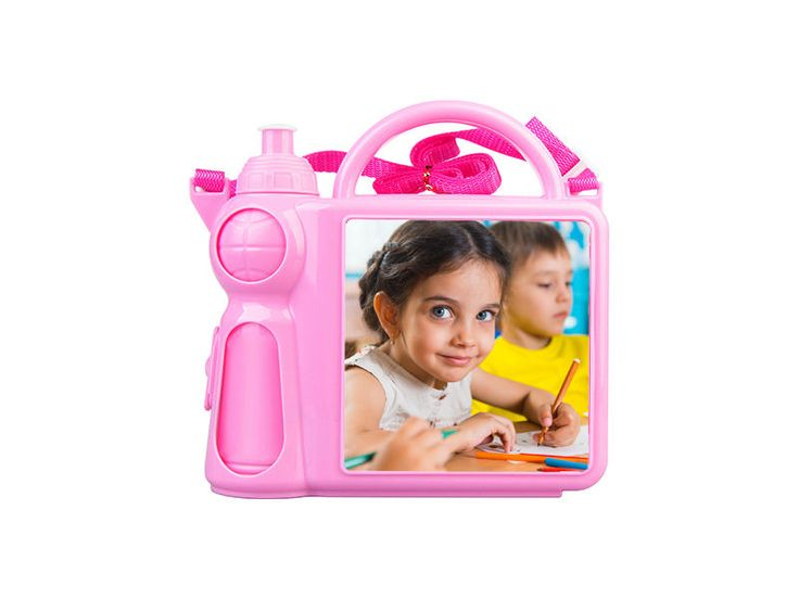 Personalized Children's Lunchbox with Water Bottle and Handle - Pink color #Unbranded