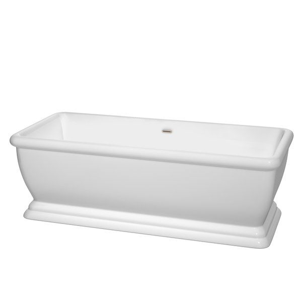 Almost roman in its classical design and proportions, the Candace Freestanding Tub redefines the modern bathroom while still showing traditional touches. The tub features a construction that's pleasing to the eye and acrylic material that's warmer to the touch than standard tubs for a seamless blend of aesthetics and functionality. Always ideal for a luxurious soak, this elegant Wyndham Collection tub is perfect for almost any home and bathroom.