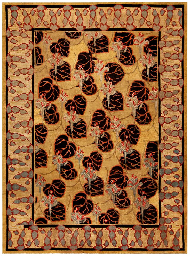 An Early 20th Century Irish Donegal Carpet The Maize Field With Enlarged Black Leaves Overall