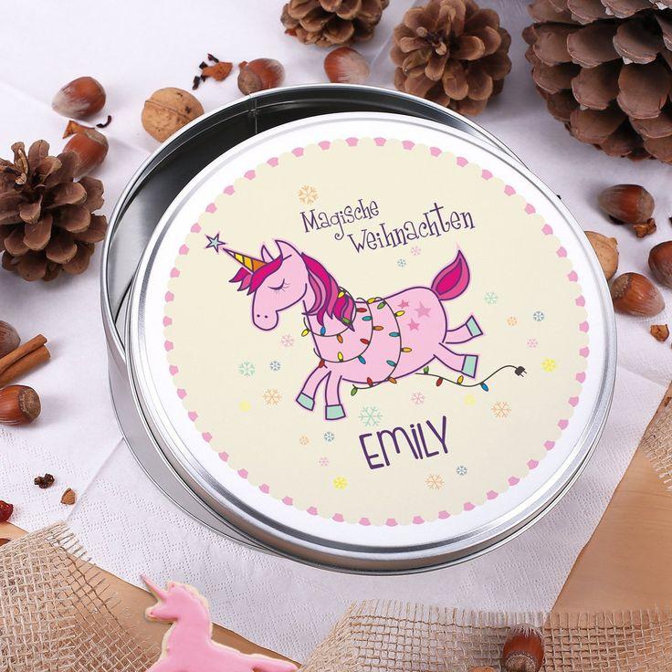 geschenke-online Einhorn Keksdose - Magische Weihnachten - mit Aufdruck des Namen: Amazon.de: Küche & Haushalt