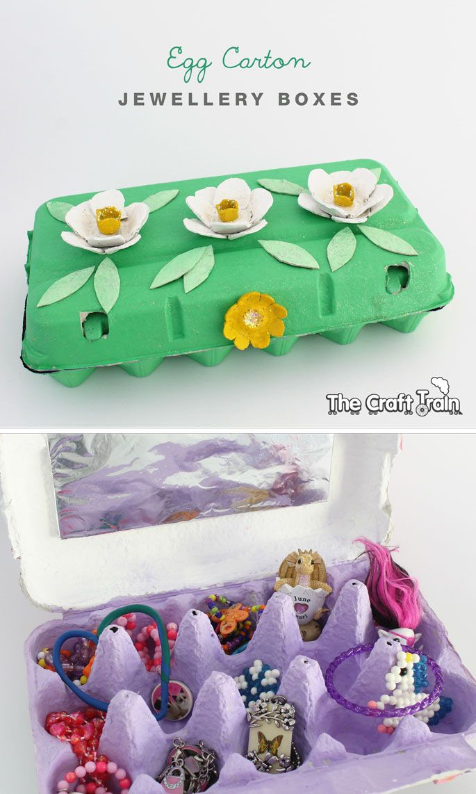 Make an egg carton jewellery box decorated with egg carton flowers – a simple and creative project for kids