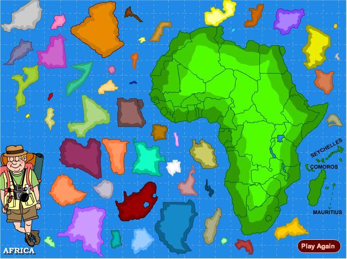 Afrika Puzzel. Leer in dit spelletje waar landen van Afrika liggen.